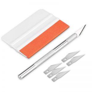 AGPTEK Film Kits Applicateurs d'Installation, 2*Raclette Professionnelle avec Patch Feutre Durable, 1*Couteau à Manche en Aluminium avec Bouchon de Sécurité, 5*Lame pour Fenêtre/Voiture/Vitre/Maison de la marque AGPTEK image 0 produit