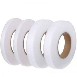 SERWOO 280 Yards 4 Rouleaux Ruban d/'Ourlet Blanc et Noir Bande Thermocollante Tissu Fusing pour V/êtement Pantalon Largeur : 10mm et 15mm, 70 Yards par Chaque Rouleau