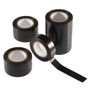 Poppstar - 10x 10m Bande isolante (ruban d'étanchéité PVC - ruban adhésif), pour l'isolation - réparation de conducteurs électriques, (18mm de large), noir de la marque Poppstar image 0 produit